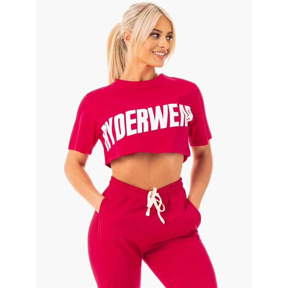 Block Cropped Tee - Cherry Red