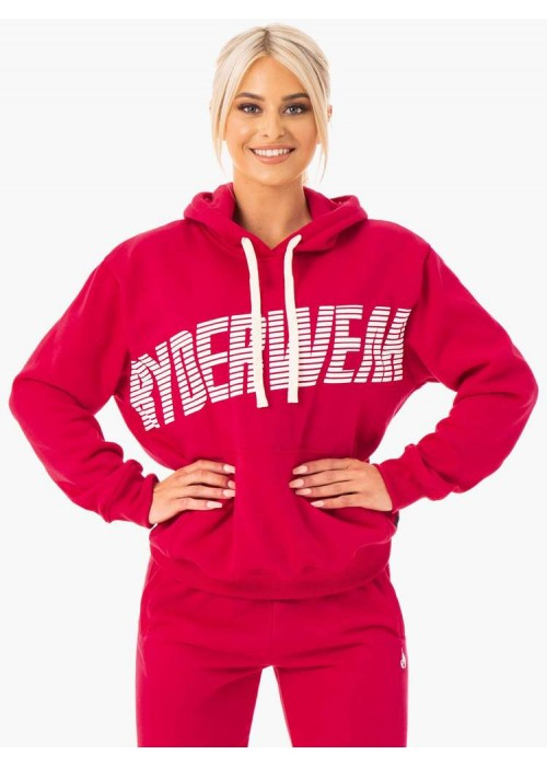 Block Oversized Hoodie - Cherry Red