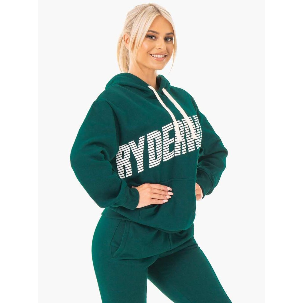 Block Oversized Hoodie - Forest Green